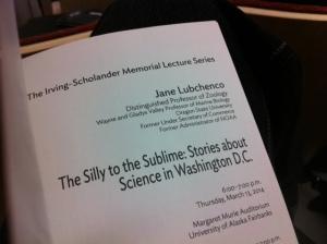 03.14.14 irving scholander memeorial lecture Jane Lubchenco